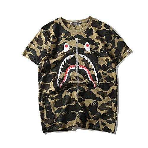 Round Neck Shirt Camo Short Sleeves Cotton A Bathing Bape Ape Shark Head T-Shirt (Green, L)