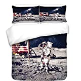 3Pcs Duvet Cover Set,Outer Space Decor,American Spaceman on Moon Future Solar Discovery in Deep Technology View,Blue Grey,Best Bedding Gifts for Family/Friends
