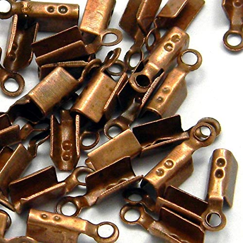 100 Pcs Antique Copper Fold Style Tube Crimp Bead Tips for Cord Ends with Loop