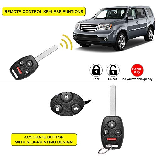 KeylessOption Keyless Entry Remote Control Uncut Car Ignition Key Fob Replacement for KR55WK49308 Pack of 2