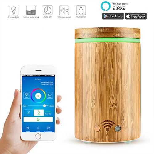 Price comparison product image WiFi Smart Aroma Diffuser – Abedoe Bamboo Ultrasonic Essential Oil Diffuser Humidifier Mist Atomizer APP Remote Control / Voice Control with Colorful LED Light – Work with Alexa (160ml)
