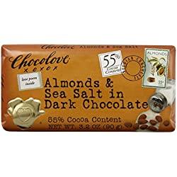 Chocolove Almonds Seasalt in Dark Chocolate, 3.2-ounces (Pack of 6)