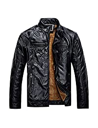 DOOXIUNDI men's winter outwear faux leather fleece zipper up jackets