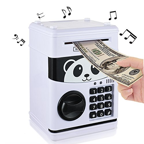Yoego New Kids Cartoon Electronic Money Bank, Security Piggy Bank Mini ATM Password Coins Money Savings Box Toys Smart Voice & Music Prompt,Code Lock for Children/Toy Gifts Birthday Gift (White Bear)