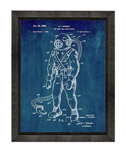 Deep Sea Diver Outfit (Toy Deep Sea Diver Outfit Patent Art Midnight Blue Print in a Beveled Black Wood Frame (13