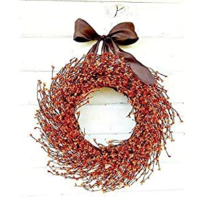 Fall Wreath, Fall Door Wreath, Orange Wreath, Autumn Wreath, Halloween Wreath, Rustic Wreath, Fall Home Decor- Door Wreath, Wreaths, Thanksgiving Wreath, Rustic Home Decor, Gifts 21