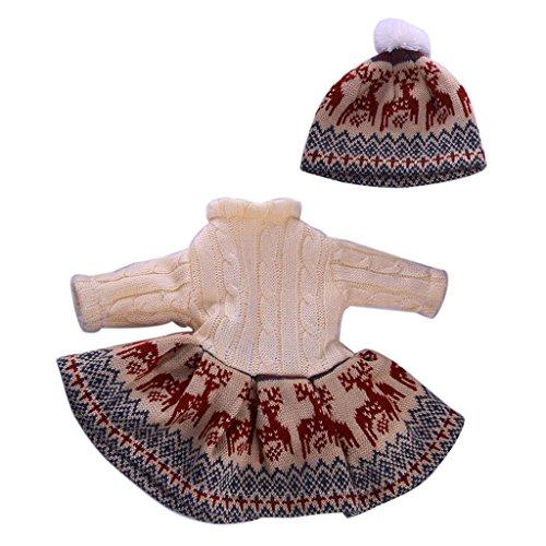 Dress American Girl 18' Doll (MonkeyJack Fashion Deers Sweater Dress & Hat Set for 18'' American Girl My Life Journey Doll)