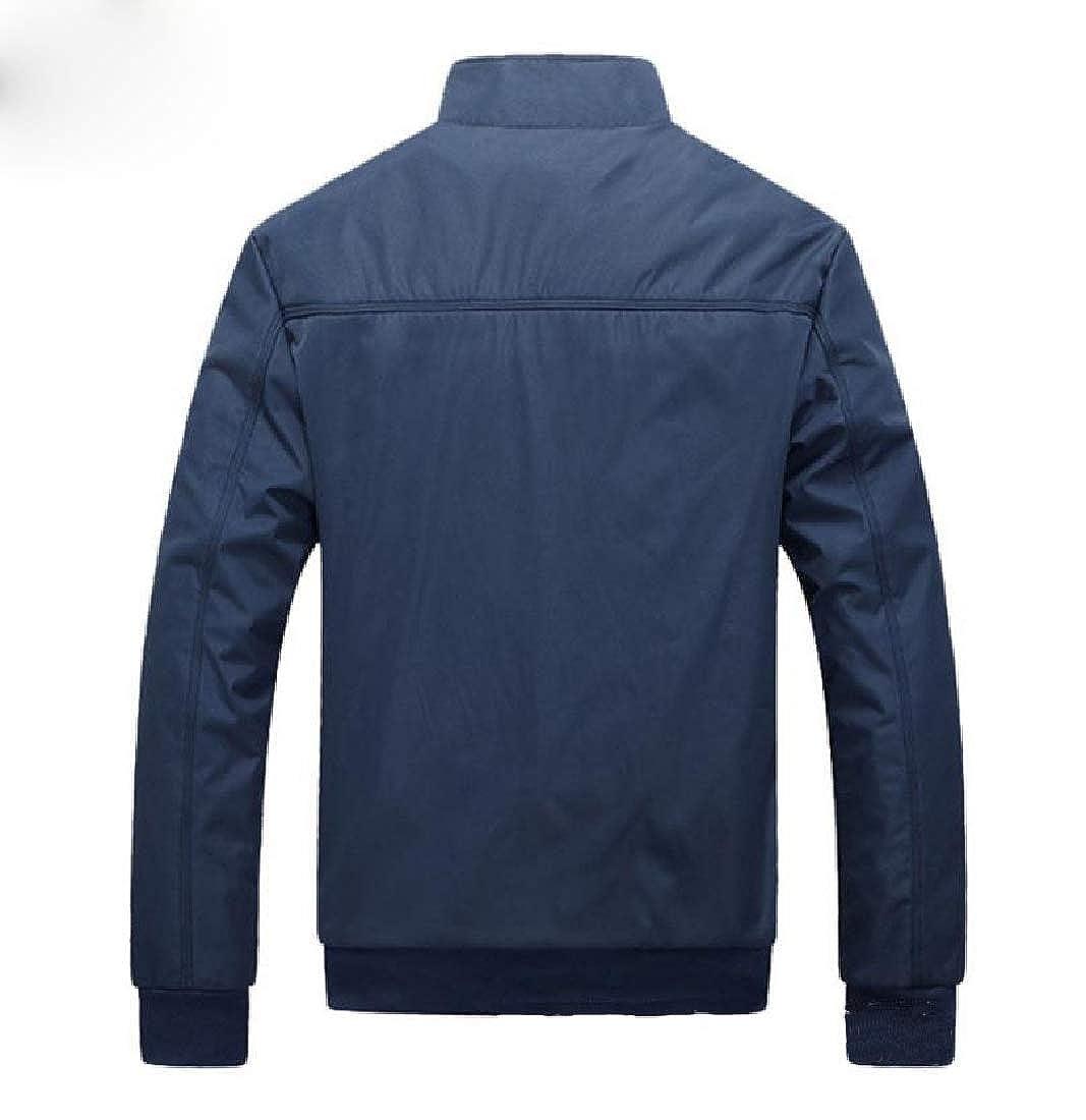 Vska Mens Casual Zip Light Weight Outdoor Coats Stand Collar Jackets