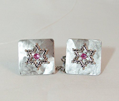 Lacy Star with Pink Crystal Tallit Clips