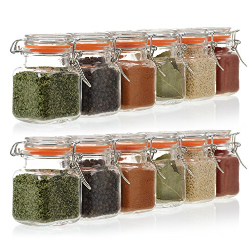 24 Pack - 3.4 Ounce Mini Square Glass Spice Jar with Orange Flip-Top Gasket, Airtight Clear Storage Jars, by California Home Goods - Glass Spice