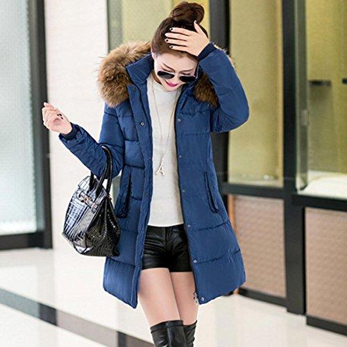 Winter Womens Blue Winter Ladies Lammy Slim Cotton Warm Coat Coat Wanshopw Wanshop® Jacket Down Lammy Parka Coat Jacket Thicker Long Outwear Fashion 1fqxnq