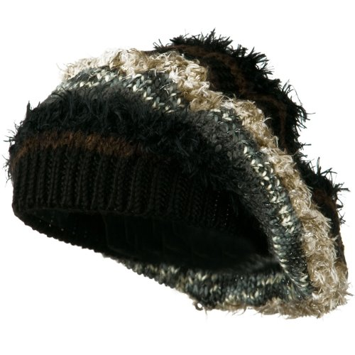 Sparkled Multi Color Beret - Black OSFM