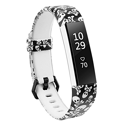 RedTaro Bands Compatible with Fitbit Alta and Fitbit Alta HR,Skull,Standard Size for 5.5