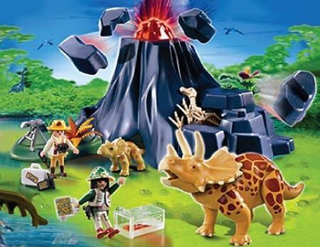 PLAYMOBIL Triceratops con Volcán: Amazon.es: Juguetes y juegos