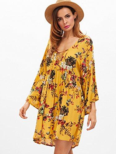 Milumia Women Boho Casual Flare V Neck Floral Print Vacation Mini Dress