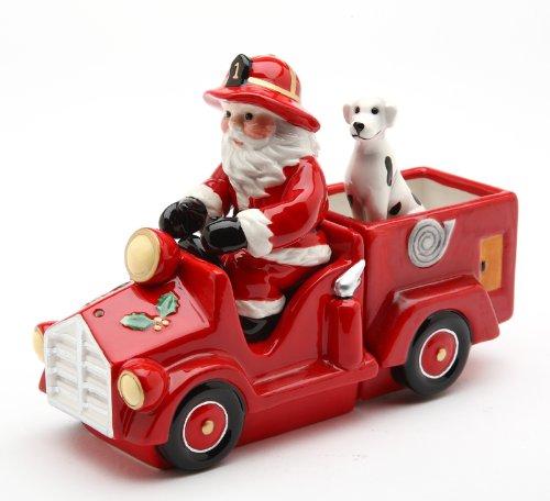Cosmos Santa on Firetruck Salt and Pepper Set, 5.6-Inch Long