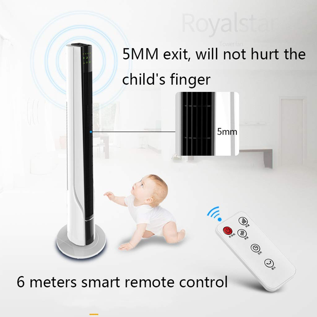 Color : Gold 3- Speeds LED Display Household Bladeless Tower Fans Cooling DLT 1.2m Tall Quiet Oscillating Tower Fan With Remote Control 3 Kinds Of Wind 8 H Timer