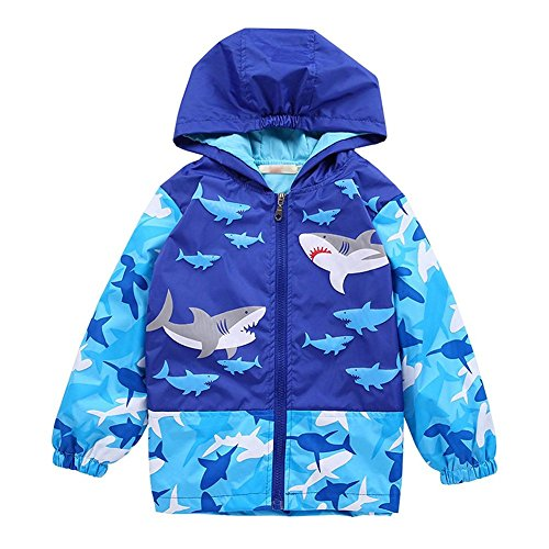 Happy childhood Baby Boys 1-6Y Shark and Skull Hooded Jacket Waterproof Lightweight Raincoat Outerwear Shark 110 ()
