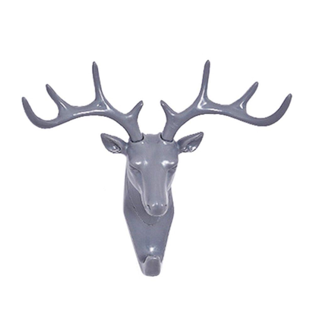 HANANei Deer Head Holder, Self Adhesive Wall Door Hook Hanger Bag Keys for Home, Office, Closet Storage (Gray)