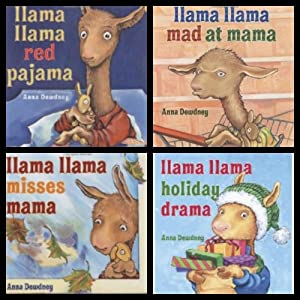 Llama Llama Set (Holiday Drama / Mad at Mama / Misses Mama / Red Pajama) Anna Dewdney