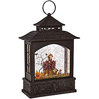 RAZ Imports 11 Inch Lighted Water Lantern Black Halloween Snow Globe with Continuous Swirling Glitter (Haunted House)