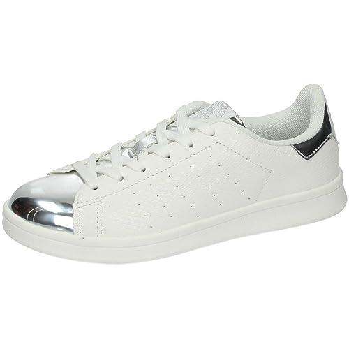 c1de5d77 XTI 46368 Bambas Blancas Mujer Deportivos Blanco-Plata 40: Amazon.es:  Zapatos y complementos