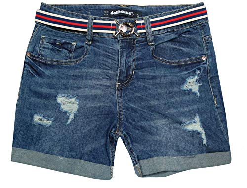dollhouse Women\'s High Waist Stretch Denim Shorts with Belt and Folded Hem, Dark Wash, Size 5'