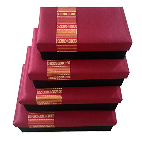 Red Silk Gift Boxes - A Nested Set of 4 Assortment By All Day Gifts, Great For All Occasions.
