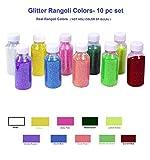 More Quantity-Easy to Store Glitter Rangoli Colors. Real Rangoli Colours kit ( NO GULAL).Festival/Festive Vibrant Colours for Diwali, Rangoli Decoration.Diwali Gift.(10 Shades). 65 GM Color per bottle