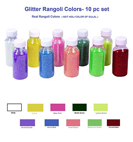 More Quantity-Easy to Store Glitter Rangoli Colors. Real Rangoli Colours kit ( NO GULAL).Festival/Festive Vibrant Colours for Diwali, Rangoli Decoration.Diwali Gift.(10 Shades). 65 GM Color per bottle by Crafts'man