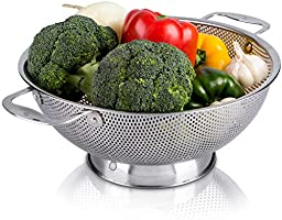 LiveFresh Stainless Steel Micro-Perforated 5-Quart Colander - Professional Strainer with Heavy Duty Handles and...