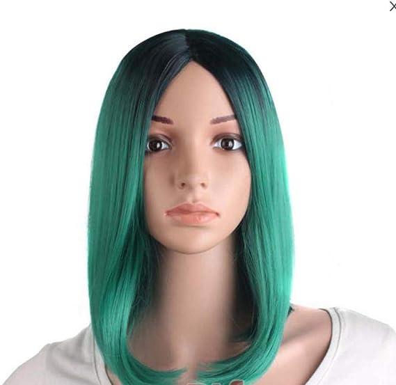 Peluca mujer pelo corto medio recto cosplay gradiente tinte ...