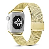HILIMNY Compatible for Apple Watch Band 42mm 44mm, Stainless Steel Mesh Sport Wristband Loop with Adjustable Magnet Clasp for iWatch Series 1/2 / 3/4, Gold