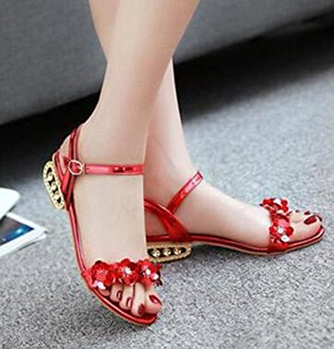Easemax Womens Fashion Floral Open Toe Dressy Buckled Mid Heels Ankle Strap Sandals Red jL1qV
