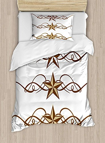 Girls Boys Child Queen Bedding Sets,Primitive Country Duvet Cover Set,Western Stars Scroll Design Ornate Swirls Antique Artistic Print,Include 1 Flat Sheet 1 Duvet Cover and 2 Pillow Cases