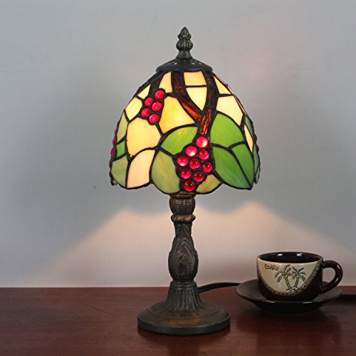 Gweat 6 Inch Grapes and Leaves Pastoral Retro Antique Table Lamp Bedside (Grape Design Table Lamp)