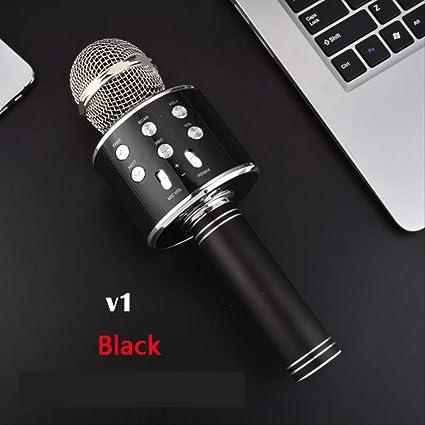 Microfono Inalambrico Bluetooth Ws-858 Bluetooth Inalámbrico Karaoke Micrófono De Mano Altavoz Mini Teléfono De Casa Máquina De Karaoke Entrega Rápida España Negro V1: Amazon.es: Instrumentos musicales