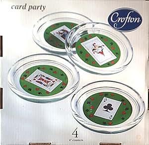 Amazon Com Crofton Card Party Set Of 4 Glass Coasters