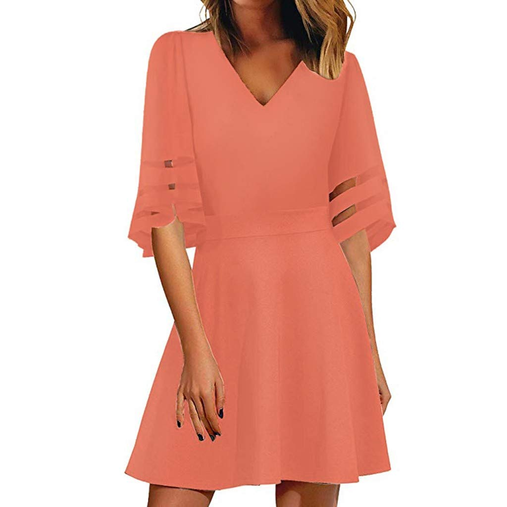 HHmei Womens V Neck Mesh Panel Blouse 3//4 Bell Sleeve Loose Top Shirt Dress