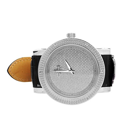 Diamond Maxx Genuine .12ct Iced Out Bling Techno Watch 14k White Gold Tone with Black Leather Band