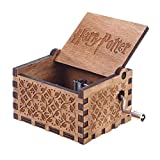 HOSPORT Engraved Wooden Music Box Hedwig Theme Harry Potter Music Box Case
