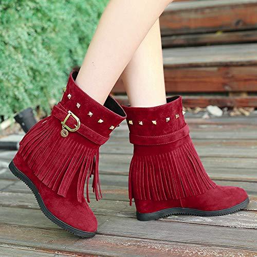 de Laterales Rojo Redonda Tacones Altos Zapatos de de Flecos con Cabeza de Desnudo Cuero Flecos Botas Botas Mujer Fiesta Zapatos Cremalleras TxpwdR