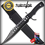 Laser Cut-Out Classic Black Bowie Hunting Fixed Blade SHARP KNIFE...