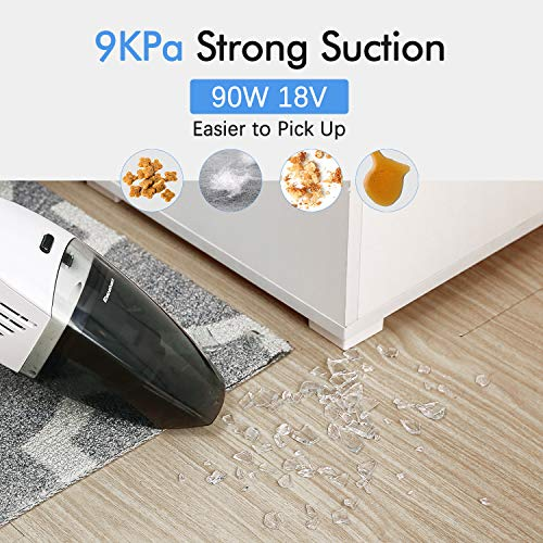 Excelvan Handheld Vacuum Cordless 9KPA, Rechargeable Handheld Vacuum Cleaner with 18V Lithium Quick Charge, Powerful Cyclone Suction Wet Dry Vacuum for Car Home Pet Hair Cleaning