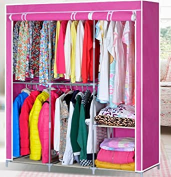 Generic Clothes Closet Organizer Storage Rack Portable Wardrobe Clothing Hanger Armoires
