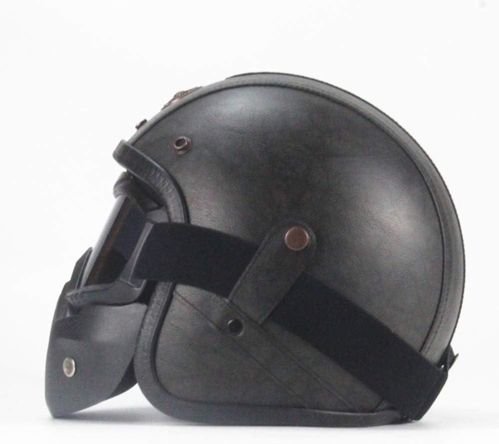 Casco Abierto para Motos Certificado por Dot y Gafas Protectoras Desmontables con Filtro bucal Hecho a Mano Casco Harley con Personalidad S, M, L, XL, XXL ,S