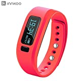 Fitness Tracker Watch - InnKoo U2 Pedometer Band Calories Counter Smart Sports Bracelet Wristband Activity and Sleep Monitor - Bluetooth Sync Anti-lost Long-time Standby (Red)