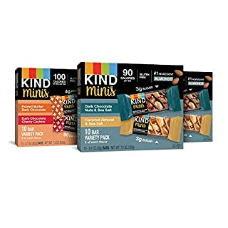 KIND Bar Mini's, Variety Pack, Gluten Free, 100 Calories, Low Sugar, .7oz Bar, 30 Count