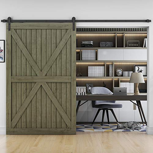 EaseLife 10 FT Heavy Duty Sliding Barn Door Hardware Track Kit-Ultra Hard Sturdy | Sliding Smooth Quiet | Easy Install | Fit 52''~60'' Wide Door | 10 FT Track Single Door Kit by EaseLife (Image #1)