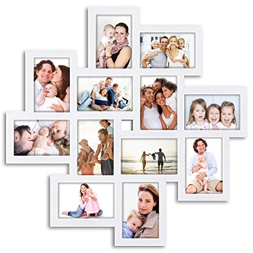 Jerry & Maggie - Photo Frame 24x24 Square Storm Eye White PVC Picture Frame Selfie Gallery Collage Wall Hanging for 6x4 Photo - 12 Photo Sockets - Wall Mounting Design - Eye Picture